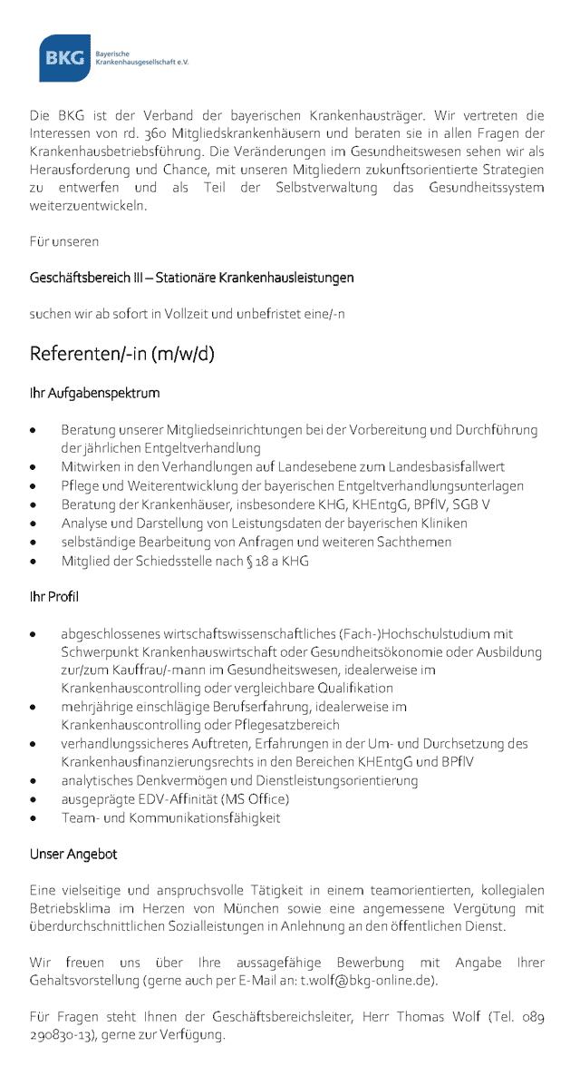 Bayerische Krankenhausgesellschaft e. V.: Referent (m/w/d)
