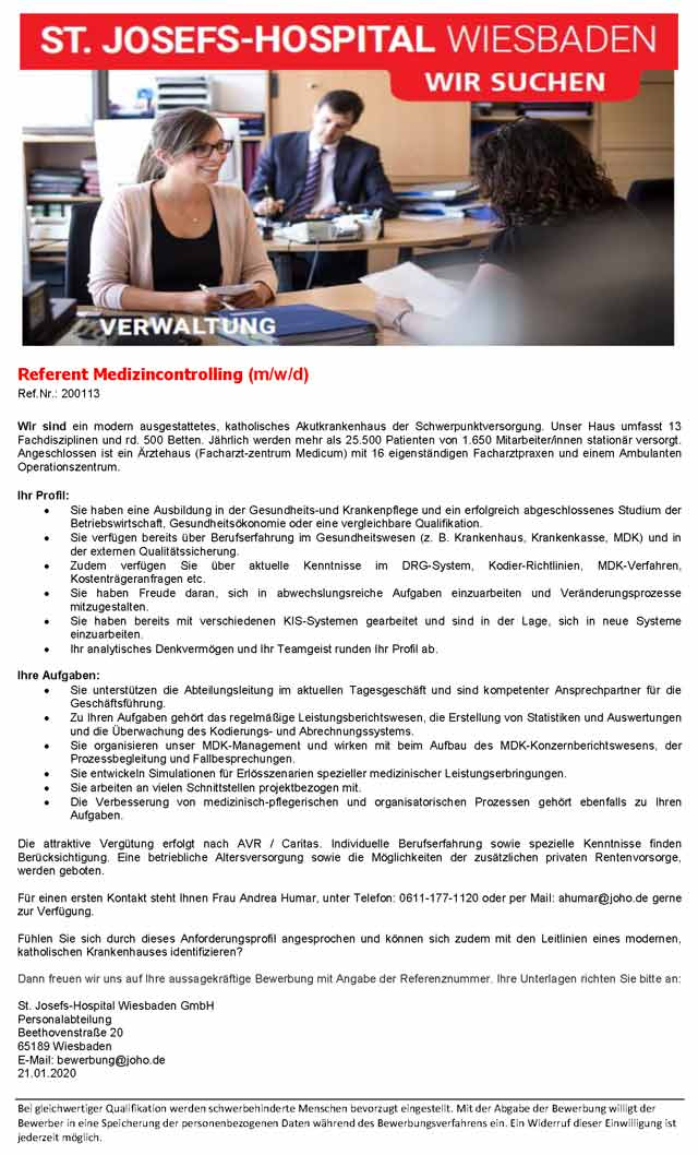 St. Josefs-Hospital Wiesbaden GmbH: Referent Medizincontrolling (m/w/d)