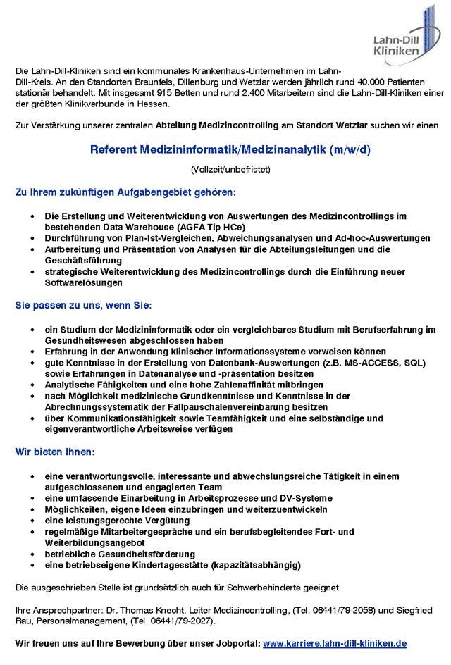 Lahn-Dill-Kliniken: Referent Medizininformatik / Medizinanalytik (m/w/d)