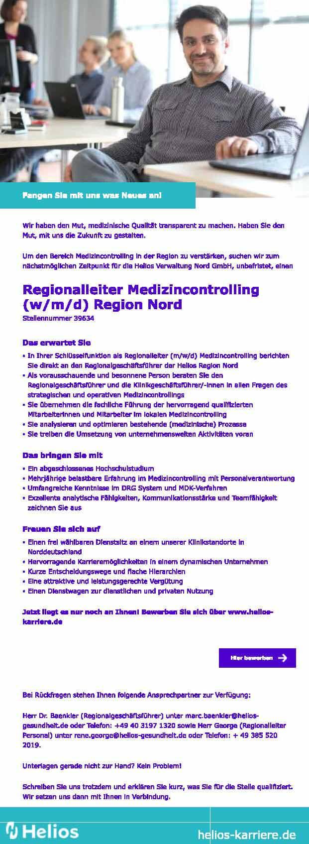 Helios Verwaltung Nord GmbH: Regionalleiter Medizincontrolling (w/m/d)