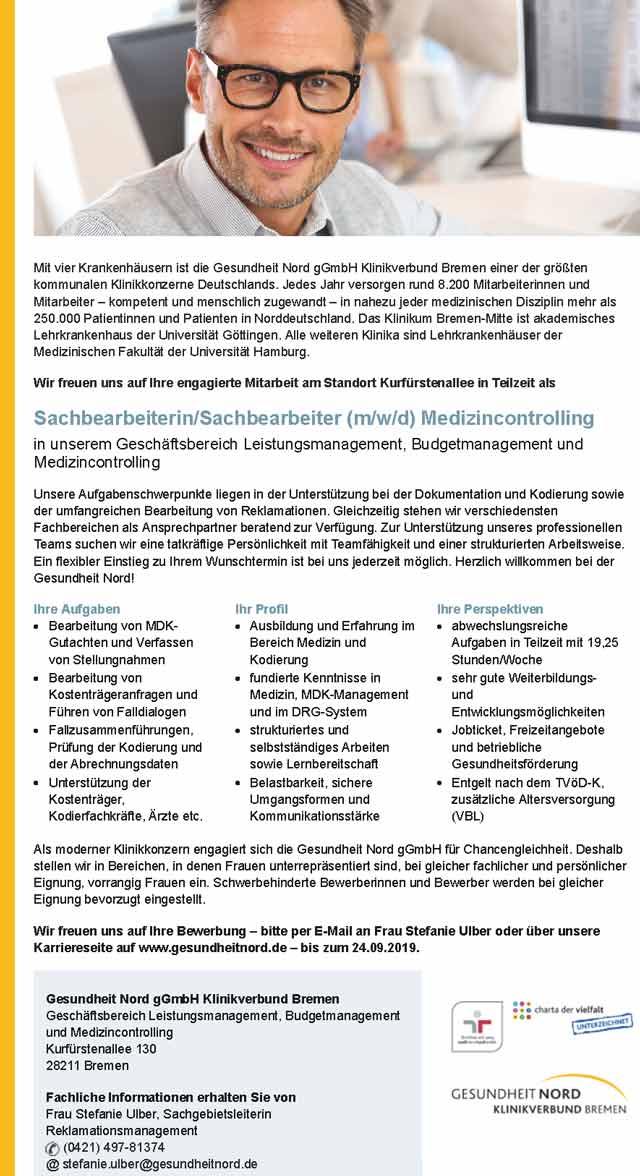 Gesundheit Nord gGmbH Klinikverbund Bremen: Sachbearbeiter Medizincontrolling (m/w/d)