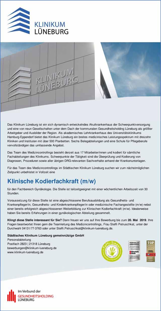 Städtisches Klinikum Lüneburg gemeinnützige GmbH: Kodierfachkraft (w/m/d)