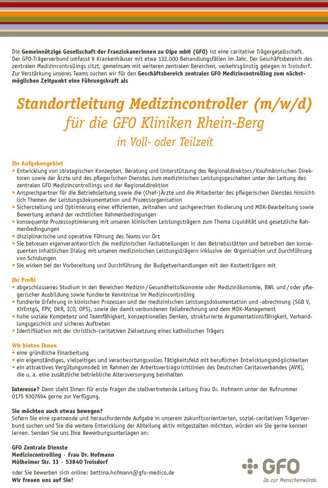 GFO Zentrale Dienste: Standortleitung Medizincontroller (m/w/d)