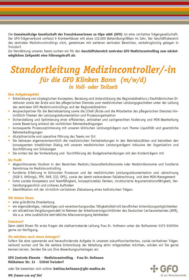 GFO Zentrale Dienste Troisdorf: Standortleitung Medizincontrolling (m/w/d)