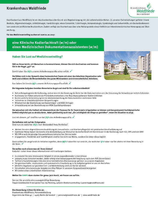 Krankenhaus Waldfriede, Berlin-Zehlendorf: Klinische Kodierfachkraft (w/m) oder Medizinischer Dokumentationsassistent (w/m)
