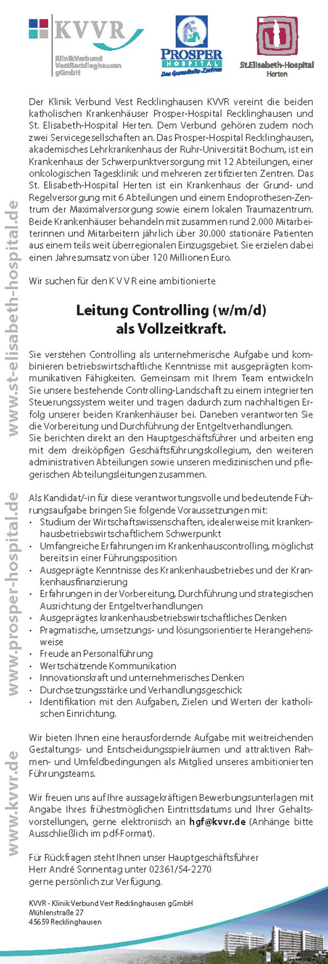 Klinik Verbund Vest Recklinghausen gGmbH: Leitung Controlling (w/m/d)