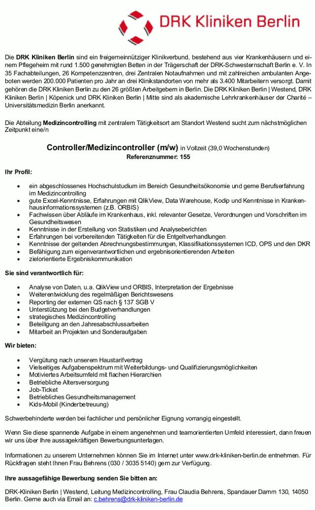 DRK-Kliniken Berlin: Medizincontroller (m/w)