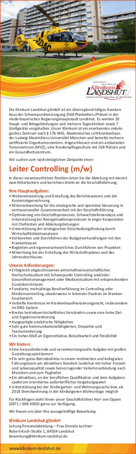 Klinikum Landshut gGmbH: Leitung Controlling (m/w)