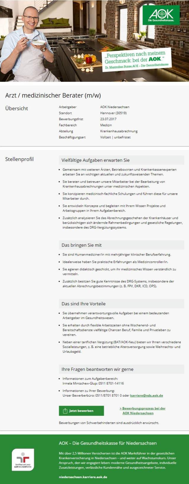 AOK - Die Gesundheitskasse für Niedersachsen, Hannover: Arzt / medizinischer Berater (m/w)