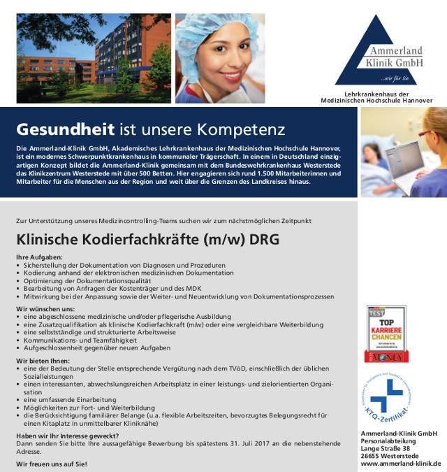 Ammerland-Klinik GmbH, Westerstede: Klinische Kodierfachkräfte (m/w)