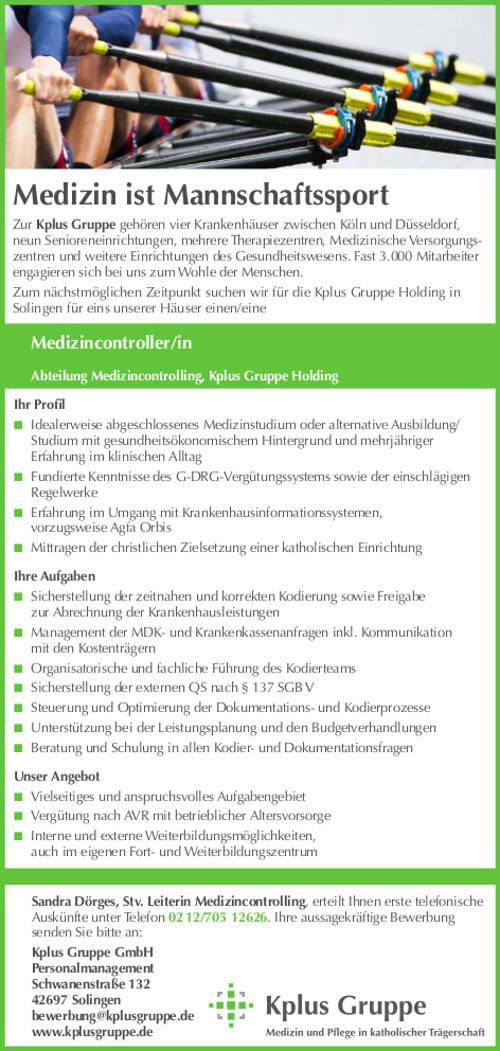 Kplus Gruppe GmbH, Solingen: Medizincontroller (m/w)