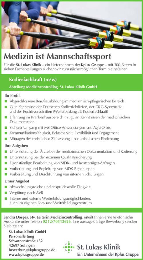 St. Lukas Klinik GmbH, Solingen: Kodierfachkraft (m/w)