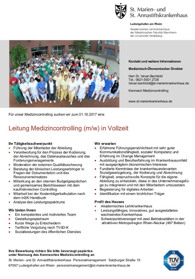 St. Marien- und St. Annastiftskrankenhaus, Ludwigshafen: Leitung Medizincontrolling (m/w)