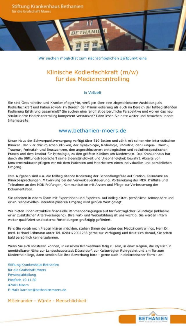 Stiftung Krankenhaus Bethanien für die Grafschaft Moers: Klinische Kodierfachkraft (m/w)