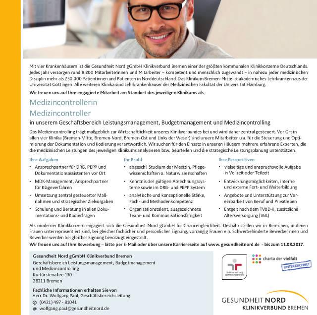 Gesundheit Nord gGmbH Klinikverbund Bremen: Medizincontroller (m/w)