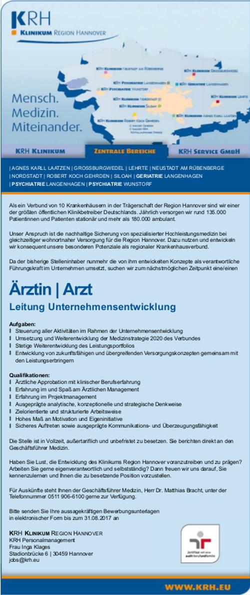 KRH Klinikum Region Hannover: Arzt Leitung Unternehmensentwicklung (m/w)