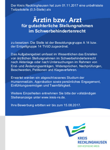 Kreis Recklinghausen: Arzt (m/w)