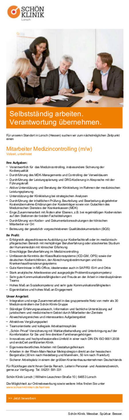 Schön Klinik Lorsch: Mitarbeiter Medizincontrolling (m/w)
