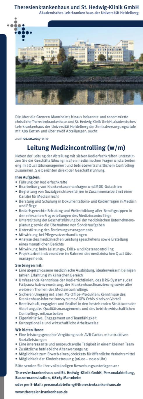 Theresienkrankenhaus und St. Hedwig-Klinik GmbH, Mannheim: Leitung Medizincontrolling (w/m)