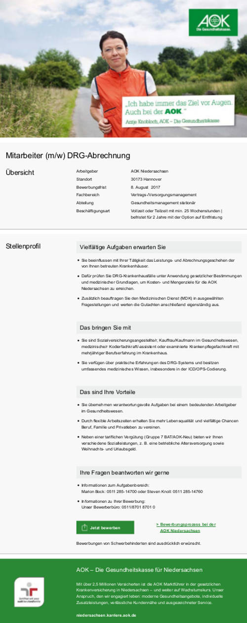 AOK - Die Gesundheitskasse für Niedersachsen, Göttingen: Mitarbeiter DRG-Abrechnung (m/w)
