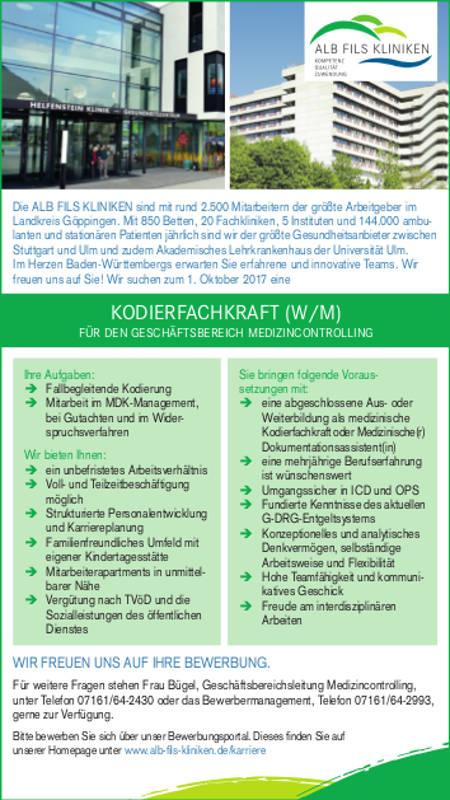 Alb Fils Kliniken GmbH, Göppingen: Kodierfachraft (w/m)