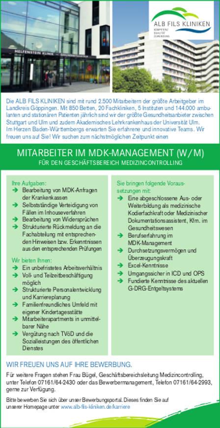 Alb Fils Kliniken GmbH, Göppingen: Mitarbeiter MDK-Management (w/m)