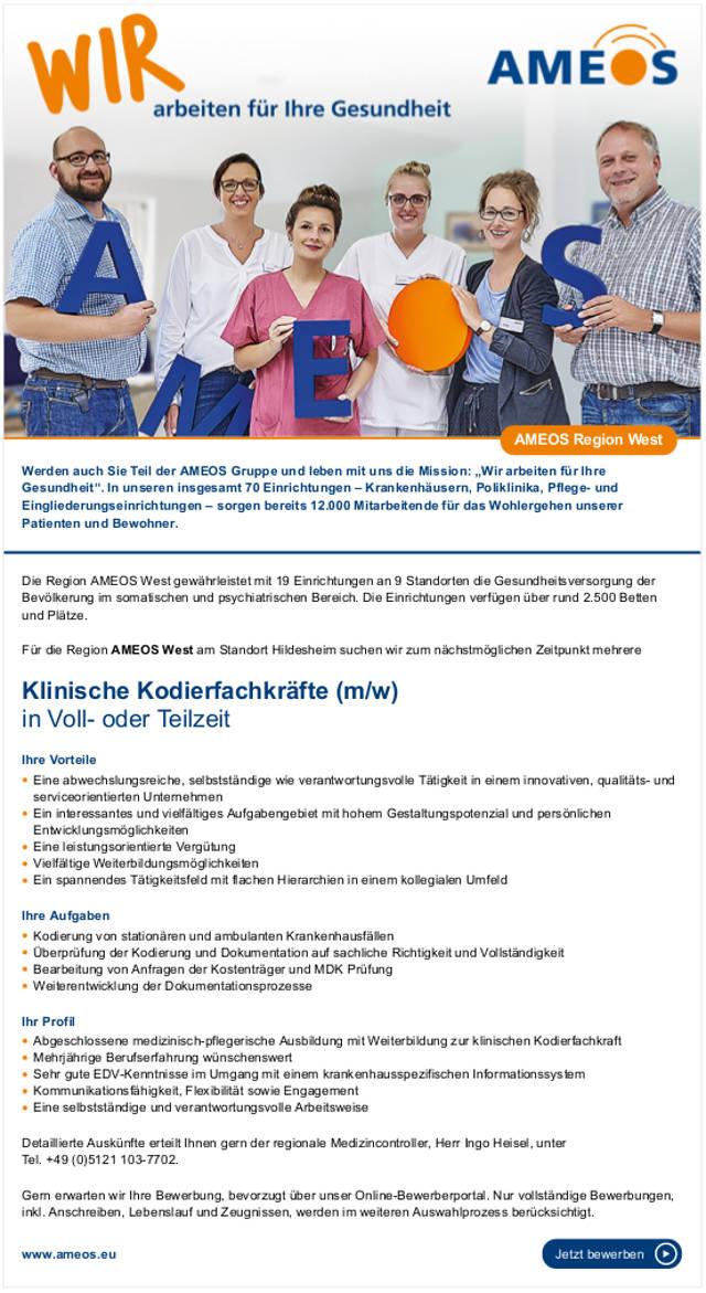 AMEOS West am Standort Hildesheim: Klinische Kodierfachkräfte (m/w)