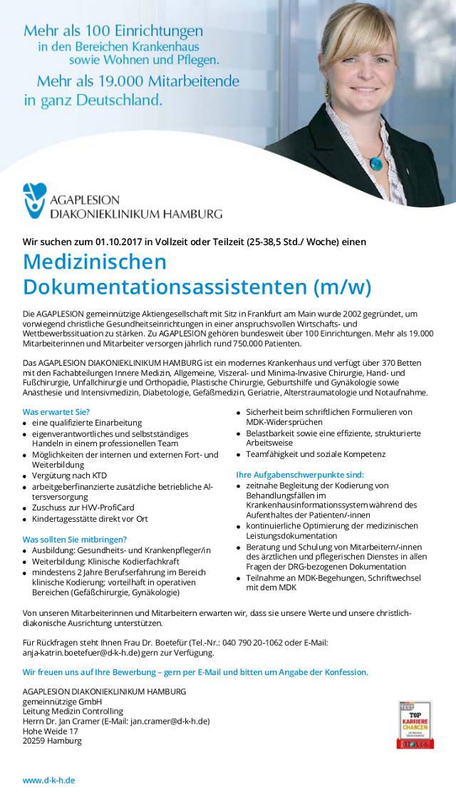 AGAPLESION Diakonieklinikum Hamburg: Medizinischer Dokumentationsassistent (m/w)