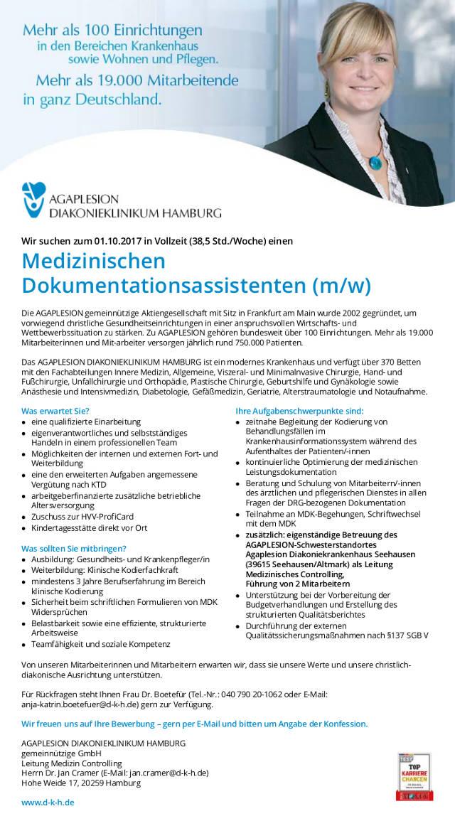 AGAPLESION Diakonieklinikum Hamburg: Medizinischer Dokumentationsassistent Leitung Medizincontrolling (m/w)
