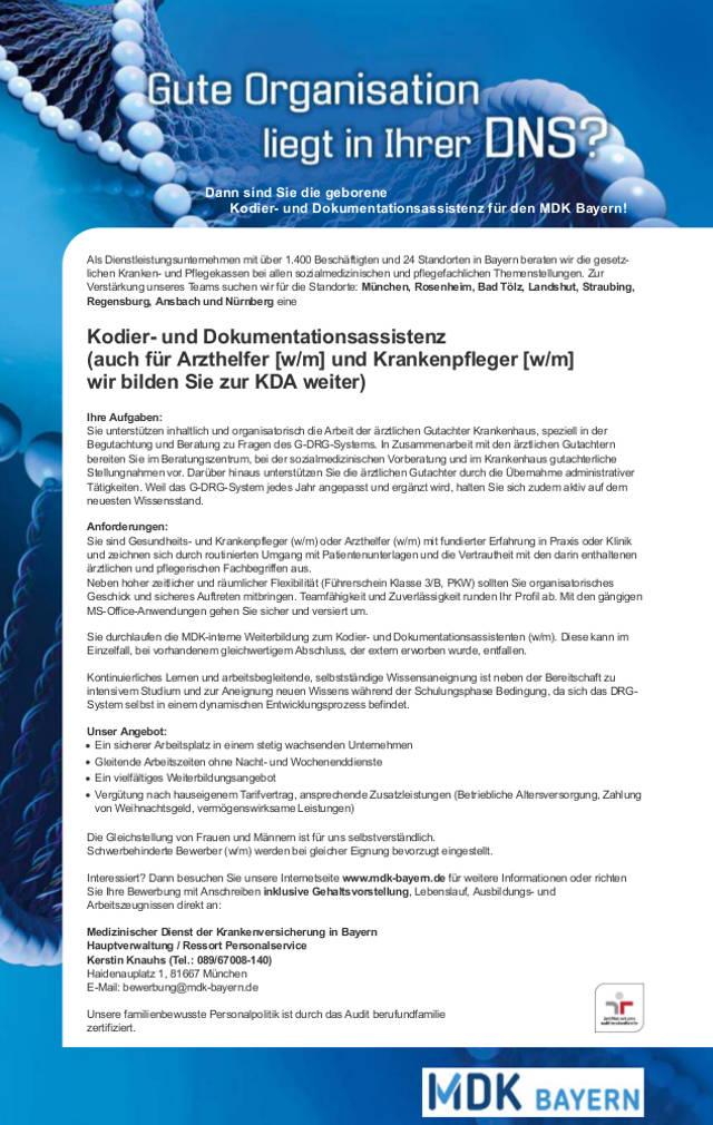 Medizinischer Dienst der Krankenversicherung in Bayern, München: Kodier- und Dokumentationsassistenz (m/w)