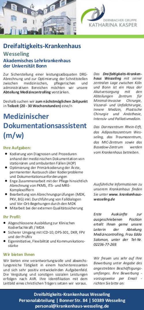 Dreifaltigkeits-Krankenhaus Wesseling: Medizinischer Dokumentationsassistent (m/w)