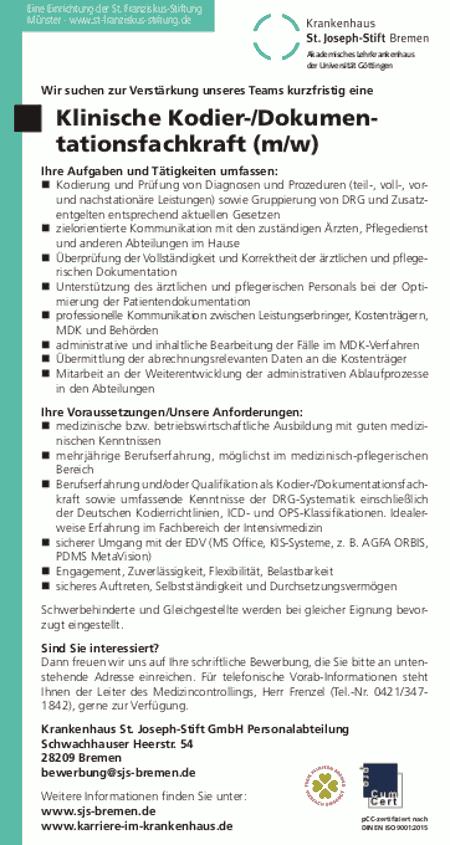 Krankenhaus St. Joseph-Stift GmbH, Bremen: Klinische Kodier-/Dokumentationsfachkraft (m/w)