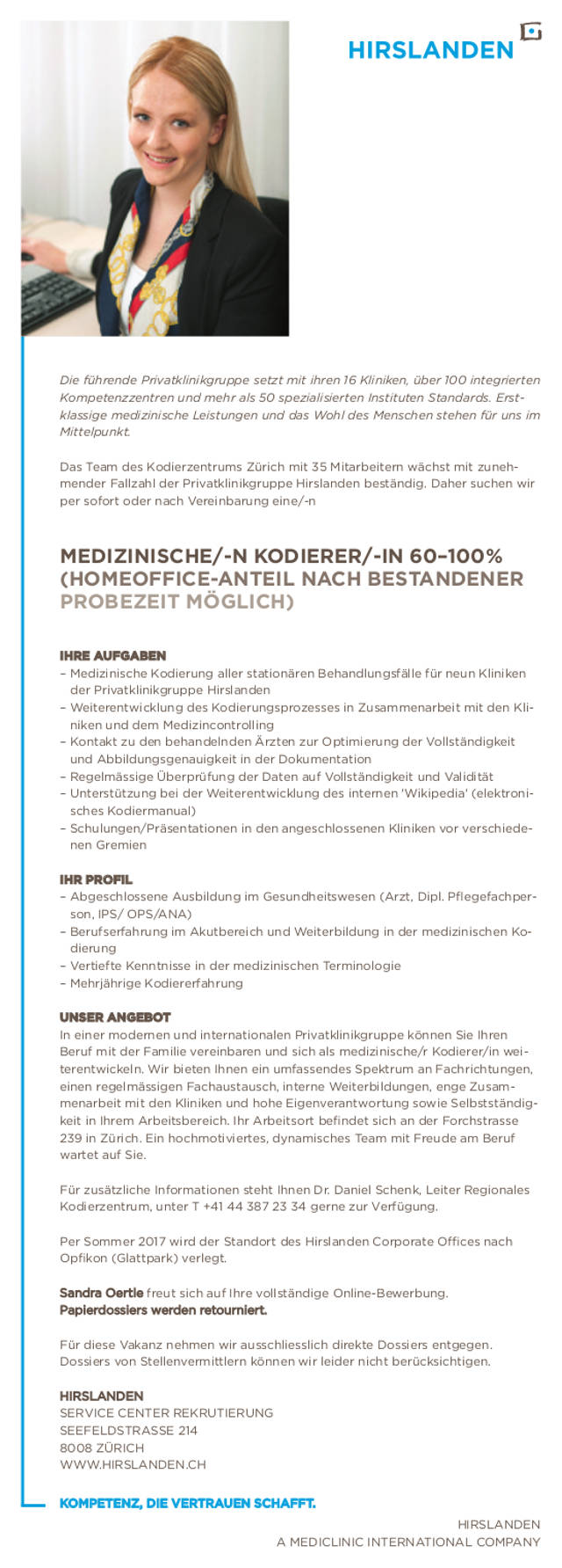 Hirslanden, Zürich: Medizinischer Kodierer (m/w)