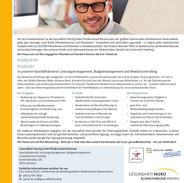 Gesundheit Nord, Klinikum Bremen-Nord: Kodierer (m/w)