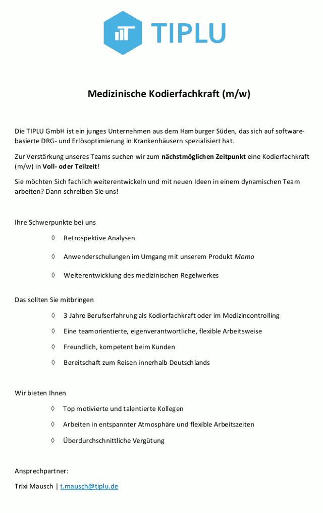 TIPLU GmbH, Hamburg: Medizinische Kodierfachkraft (m/w)