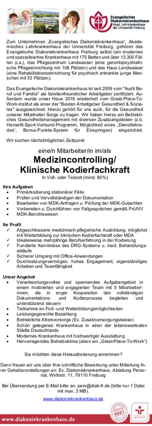 Evangelisches Diakoniekrankenhaus Freiburg: Mitarbeiter Medizincontrolling / Klinische Kodierfachkraft (m/w)