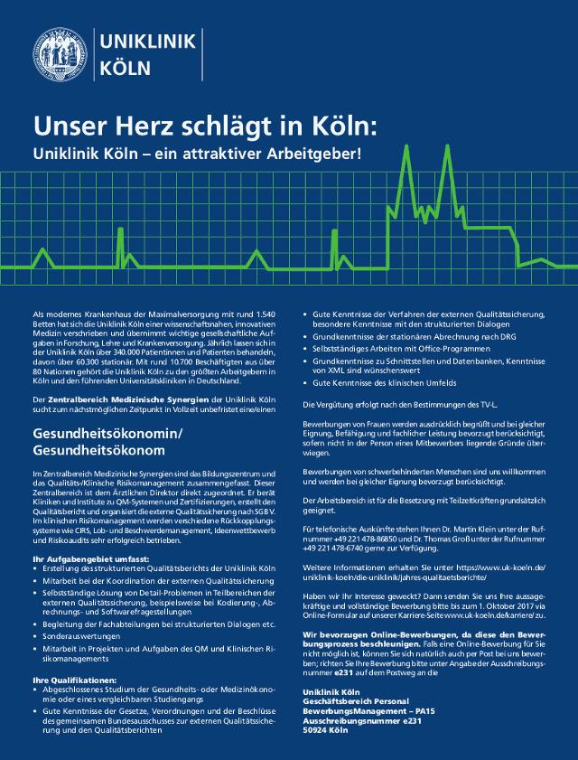 Universitätsklinikum Köln: Gesundheitsökonom (m/w)