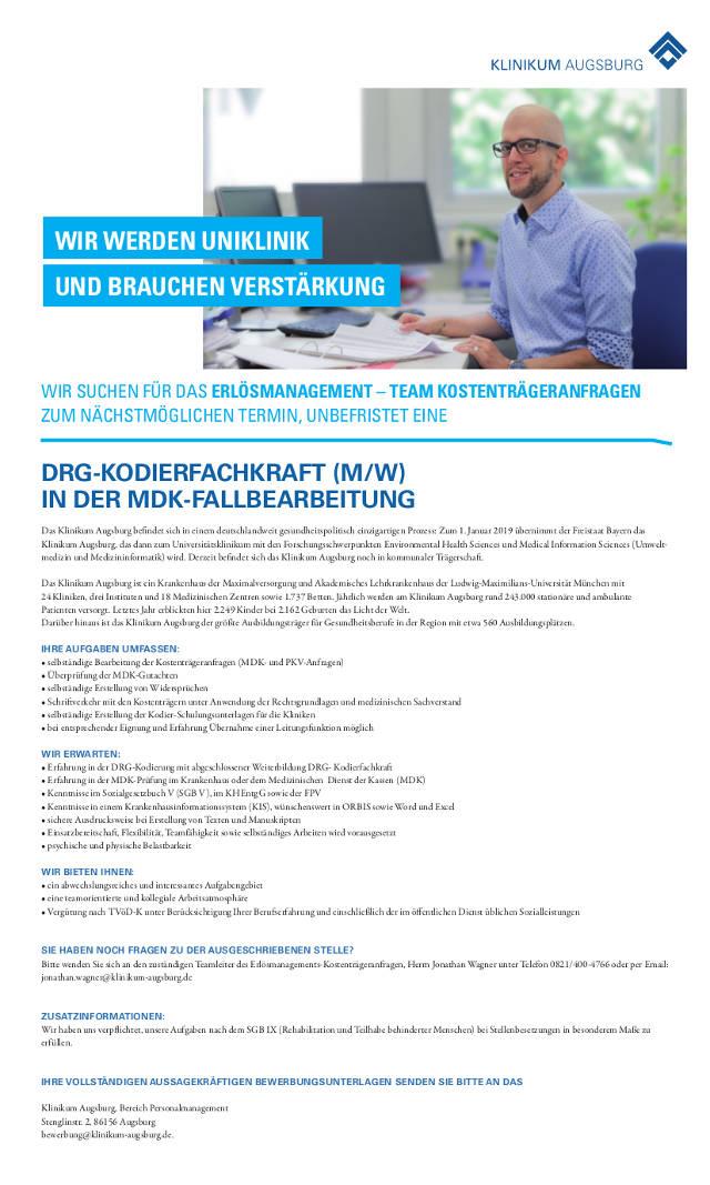 Klinikum Augsburg: DRG-Kodierfachkraft (m/w)