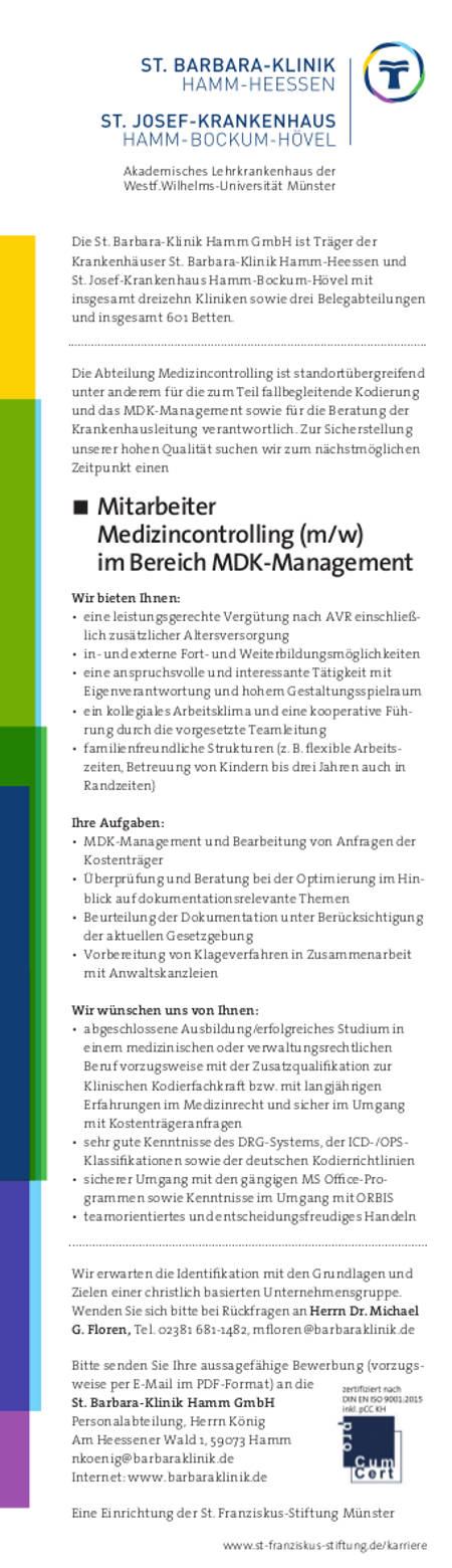 St. Barbara-Klinik Hamm GmbH: Mitarbeiter Medizincontrolling (m/w)