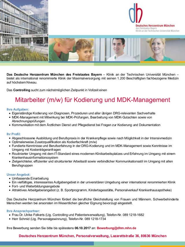 Deutsches Herzzentrum München: Mitarbeiter Kodierung und MDK-Management (m/w)