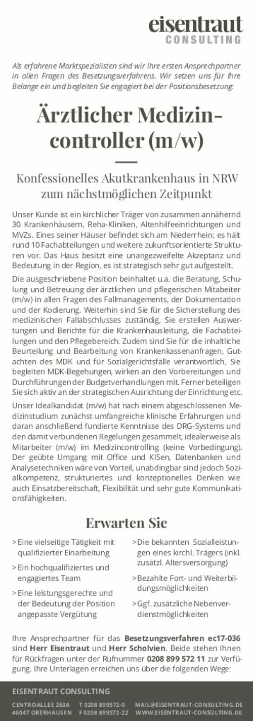 Eisentraut Consulting, Oberhausen: Ärztlicher Medizincontroller (m/w)