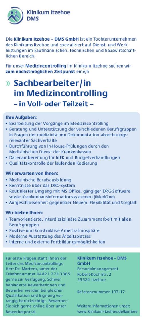 Klinikum Itzehoe - DMS GmbH: Sachbearbeiter Medizincontrolling (m/w)