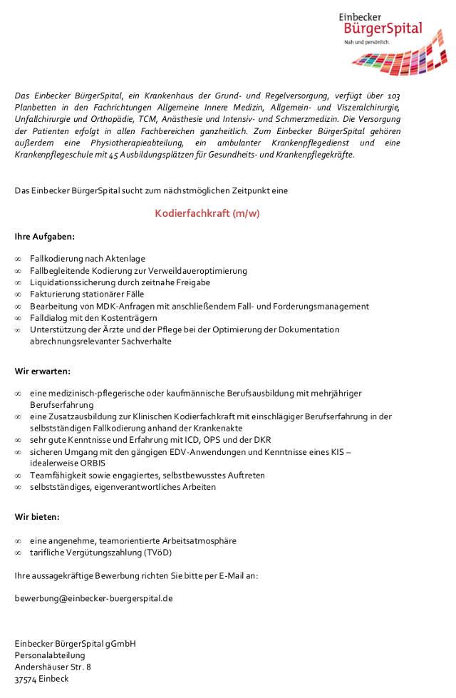 Einbecker BürgerSpital: Kodierfachkraft (m/w)