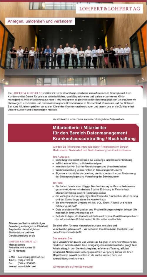 LOHFERT & LOHFERT AG, Hamburg: Mitarbeiter Datenmanagement Krankenhauscontrolling / Buchhaltung (m/w)