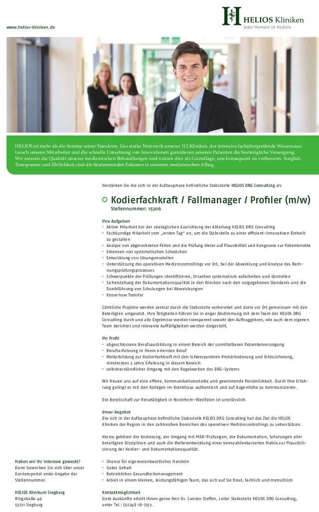 Helios Klinikum Siegburg: Kodierfachkraft / Fallmanager / Profiler (m/w)