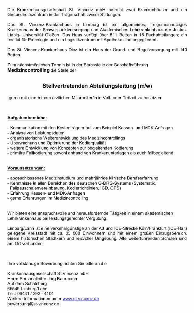 Krankenhausgesellschaft St. Vincenz mbH, Limburg: Stellvertretende Abteilungsleitung Medizincontrolling (m/w)