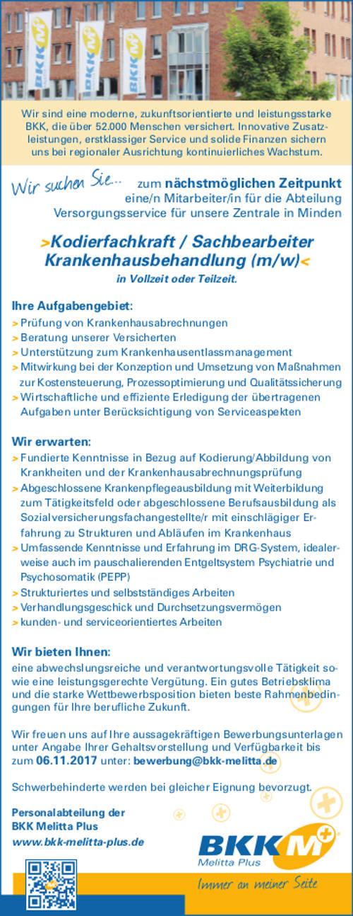 BKK Melitta Plus, Minden: Kodierfachkraft / Sachbearbeiter Krankenhausbehandlung (m/w) (m/w)