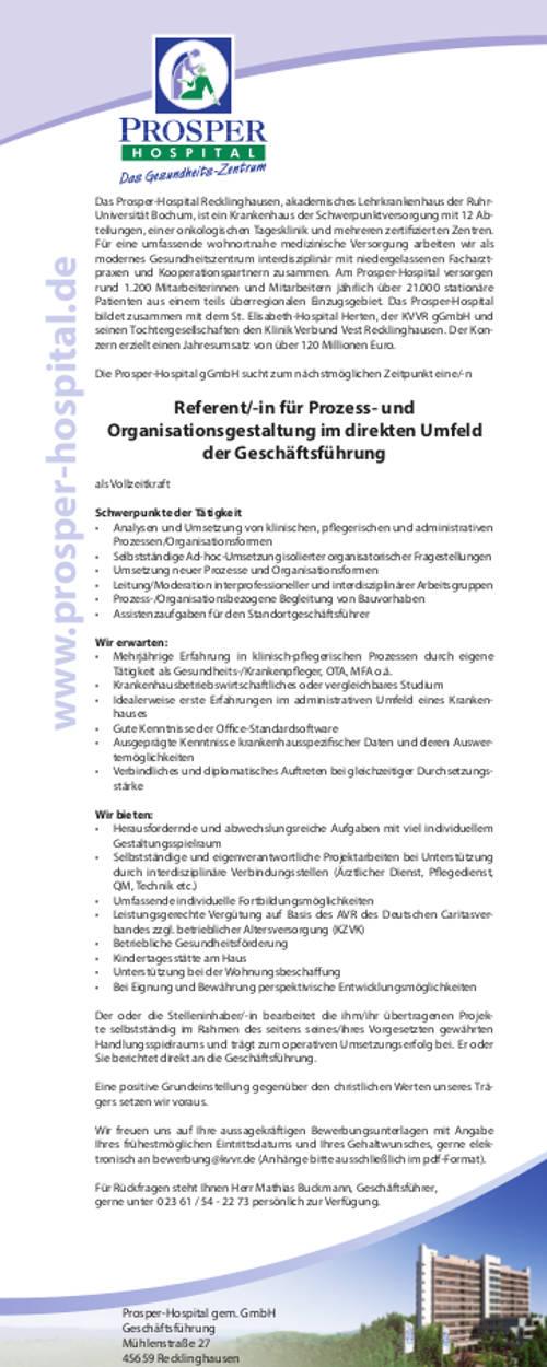 Prosper-Hospital Recklinghausen: Referent f. Prozess- und Organisationsgestaltung (m/w)