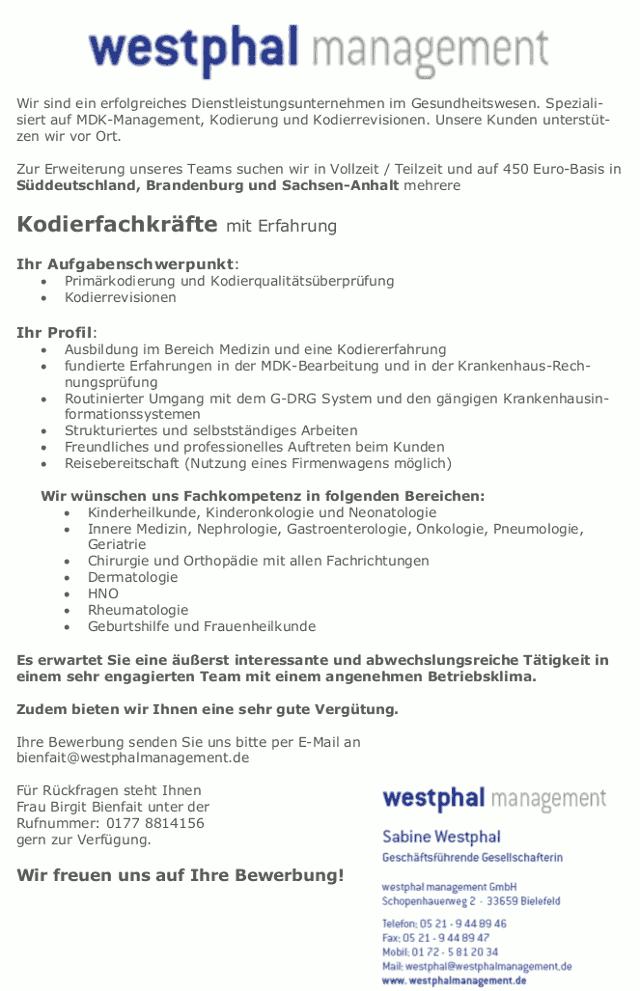westphal management GmbH, Bielefeld: Kodierfachkraft (m/w)