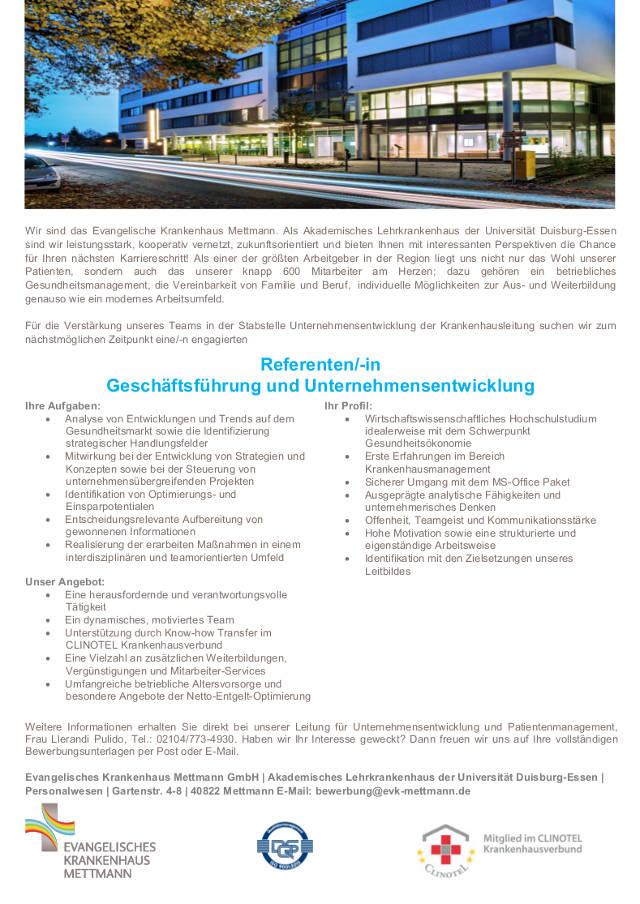Evangelisches Krankenhaus Mettmann: Referent d. Geschäftsführung und Unternehmensentwicklung (m/w)
